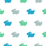 Rabbit blue, green on white kid pattern.