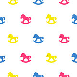 Rocking horse blue, pink and yellow kid pattern.