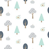 Blue forest seamless pattern with apples.