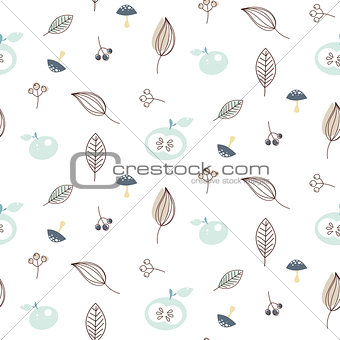Apples and leaves seamless vector pattern.
