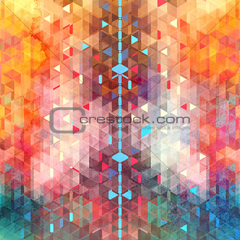 Abstract watercolor background of triangles