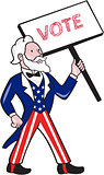 Uncle Sam Placard Vote Standing Cartoon