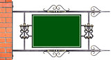 A sign in wrought iron frame