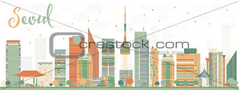 Abstract Seoul Skyline with Color Buildings.