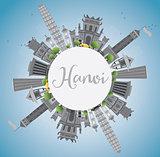 Hanoi skyline with gray Landmarks, blue sky and copy space.
