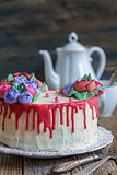 Cake with flowers of cream for coffee.