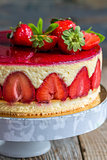 Strawberry cake close-up.
