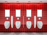 a red public restroom with four urinals