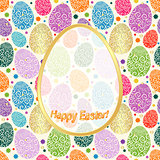Greeting Card Happy Easter with colorful eggs