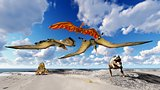 Dinosaurs living on the beach 3d illustration