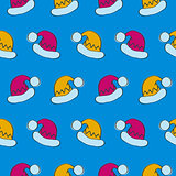 Seamless Pattern with Santa Claus Hats