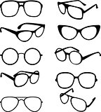 Vector set black illustration of sunglasses frames