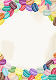 Colorful france macarons background