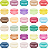 Set of sweets biscuits macaron of different colors
