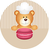 Teddy bear with macaron round sticker