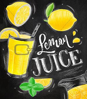 Poster lemon juice chalk