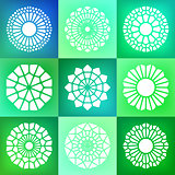 Set of Nine Vector Mandala Ornaments Illustration