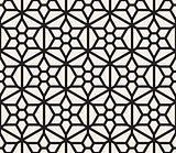 Vector Seamless Black And White Hexagonal Geometric Grid Pattern