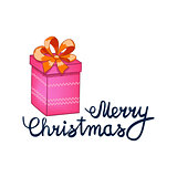 vector illustration of Merry Christmas Lettering with cartoon drowing pink present. Element for design banners, web and greetings