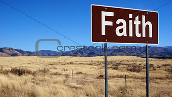 Faith brown road sign