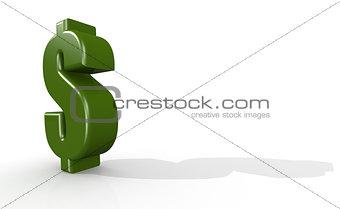 Green dollar sign in white