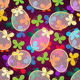 Easter dark purple Seamless Pattern