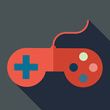 Modern flat design concept icon. Gamepad, computer joystick. Vec