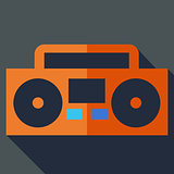 Modern flat design concept icon. Boom box, tape recorder. Vector