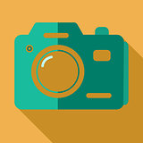 Modern flat design concept icon photo camera. Vector illustratio
