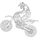 silhouettes Motocross rider on a motorcycle. Vector illustration