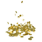Falling gold coins, isolated on white