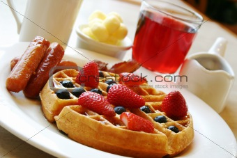 Breakfast series - Blueberry waffles with strawberries and sausages