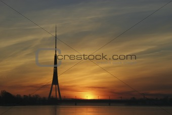 TV Tower&#39;s Silhouette