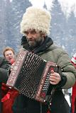 russian peasant playing accordeon