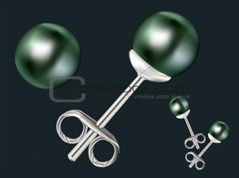 (vector) Black pearl earring