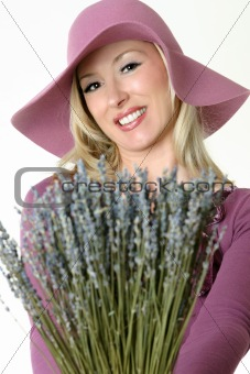 Country woman with lavender