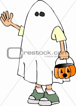 Boy in a ghost costume