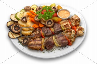 assorted veal, chicken and pork kebab