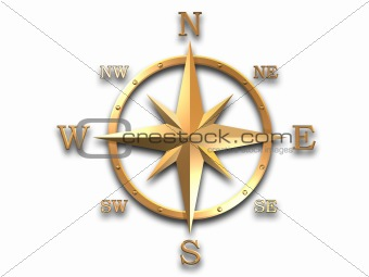 wind rose in gold material isolated on white