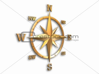 3d modeled compass, gold metallic with clipping path