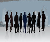Business Team Introducing Project - vector silhouette illustration