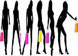 Shopping Girls - vector illustration