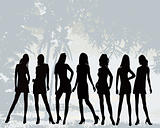 Posing women - silhouette vector illustration
