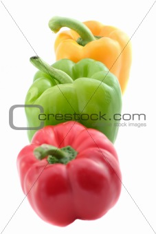 green yellow and red peppers