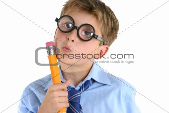 Comical boy holding a pencil and pondering