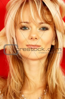 lovely blond over red