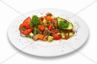 mixed fresh vegetable/mushroom salad. isolated.
