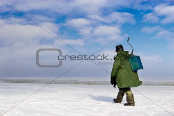 Ice Fisherman going away