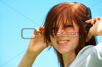 Young Teenage Girl Singing along