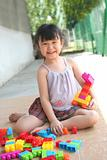 Girl playing blocks